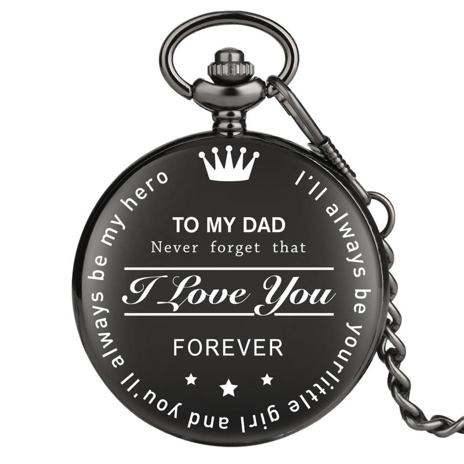 TO MY DAD Birthday Clock Gifts For Father Retro Pocket Pendant Clock Roman Numerals Display Dial  Black Chain