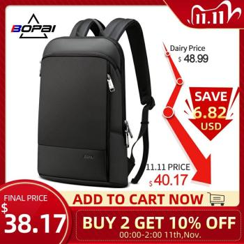 BOPAI Slim Laptop Backpack Men 15.6 Inch Office Work Women Backpack Business Bag Uni Black Ultralight Backpack Thin Back Pack