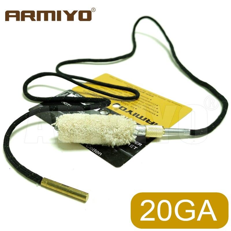 Armiyo Cotton 20GA 20 Gauge 15.6mm Bore Swabs Brush Shot Gun Barrel Cleaner Set Cleaning Hunting Accessories Thread 5/16