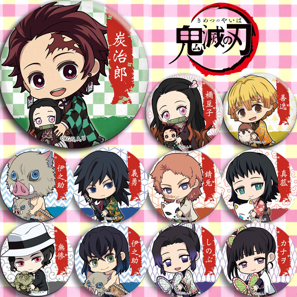 11 PCS/LOT Anime Demon Slayer Kimetsu No Yaiba  Badge Tanjirou Nezuko Zenitsu Inosuke Giyuu Muzan Badge Toy Brooch Model Doll