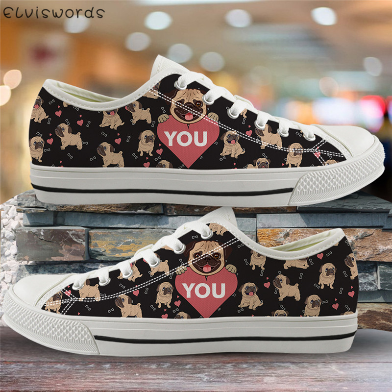 ELVISWORDS Cute Pug Dog Print Casual Sneakers Fashion Spring Autumn Low Top Shoes For Women Travel Walking Flats Light Lace-up