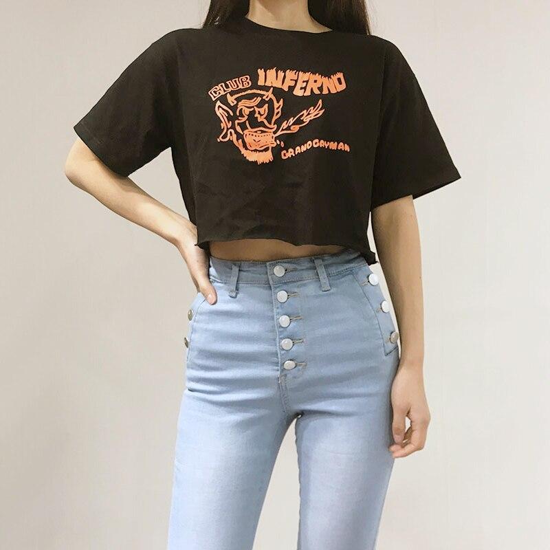 Women Print Front Crop T-shirt Loose Crop Top