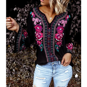 CINESSD Women Print Tops Tee Shirt V Neck Long Sleeve Casual Loose Embroidery Tshirt Black Pullover Office Lady Tunic T shirts