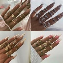 Conjunto de anillos Boho Vintage de oro para mujer, anillos de cristal de serpiente con flor de seis estrellas, conjunto de anillos de moda para mujer, anillos de nudillos, joyería femenina