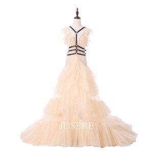 Image 1 - فستان الحفلات المسائية من Jusere a line في المخزون تنورة مكشكشة مع ذيل سويب مطرز بالخرز