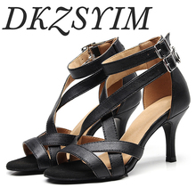 DKZDYIM Ladies party dance shoes PU + satin soft bottom Latin dance shoes ladies salsa dance shoes heel 6CM-10CM free shipping suphini customized salsa dance shoes special lady ballroom latin dance shoes
