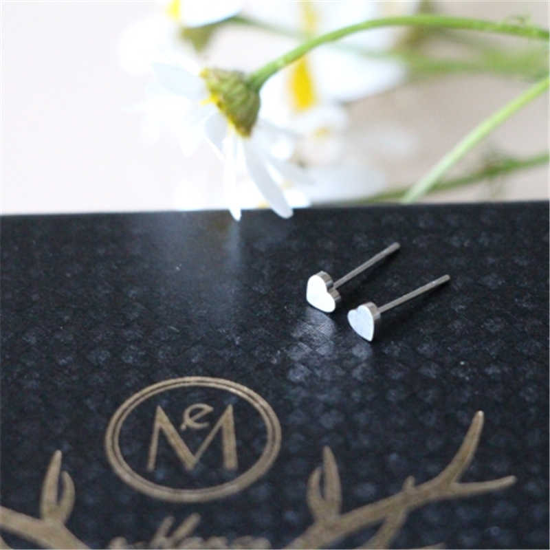 Visunion נירוסטה עגילי קטן אירוסין מינימליסטי לב אהבת הרבעה זהב כסף צבע Stud עגילים חמוד מתנה חדש