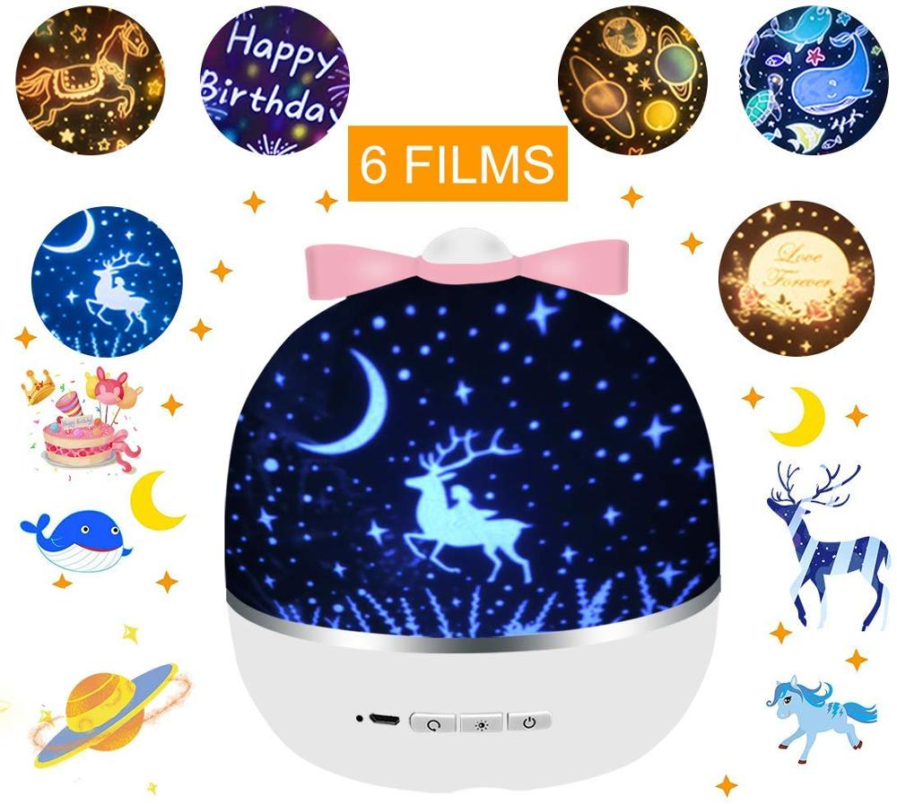 2 In 1 Star Night Light Projector With 6 Projector Films 360 Degree Rotation Projector Light For Baby Nursery Kid Room Decor