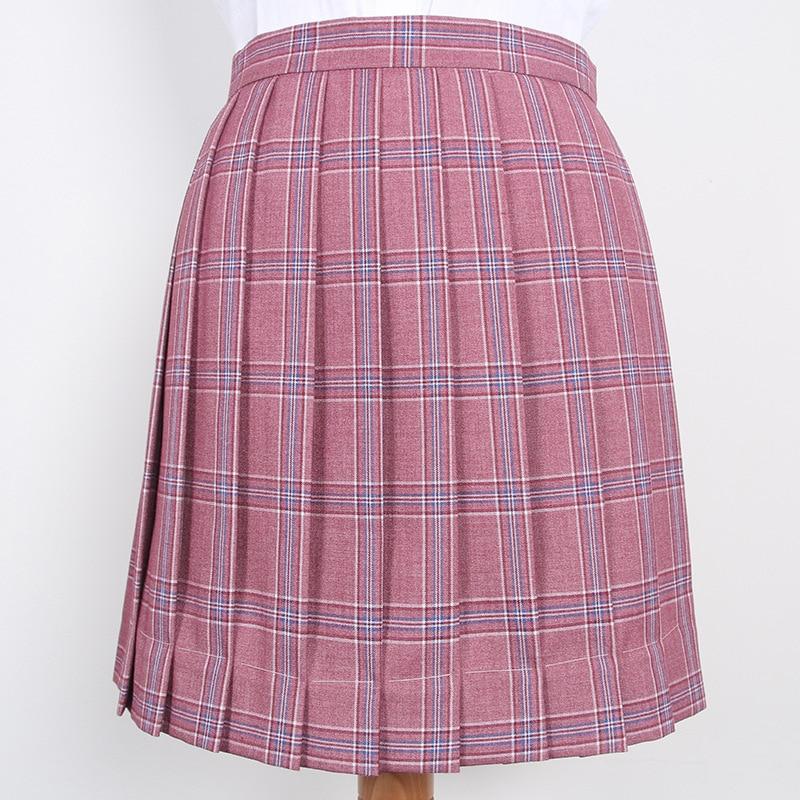 JK Student Girls School Uniform Pleated Skirt Pink Purple Grid High Waist Pleated Skirts