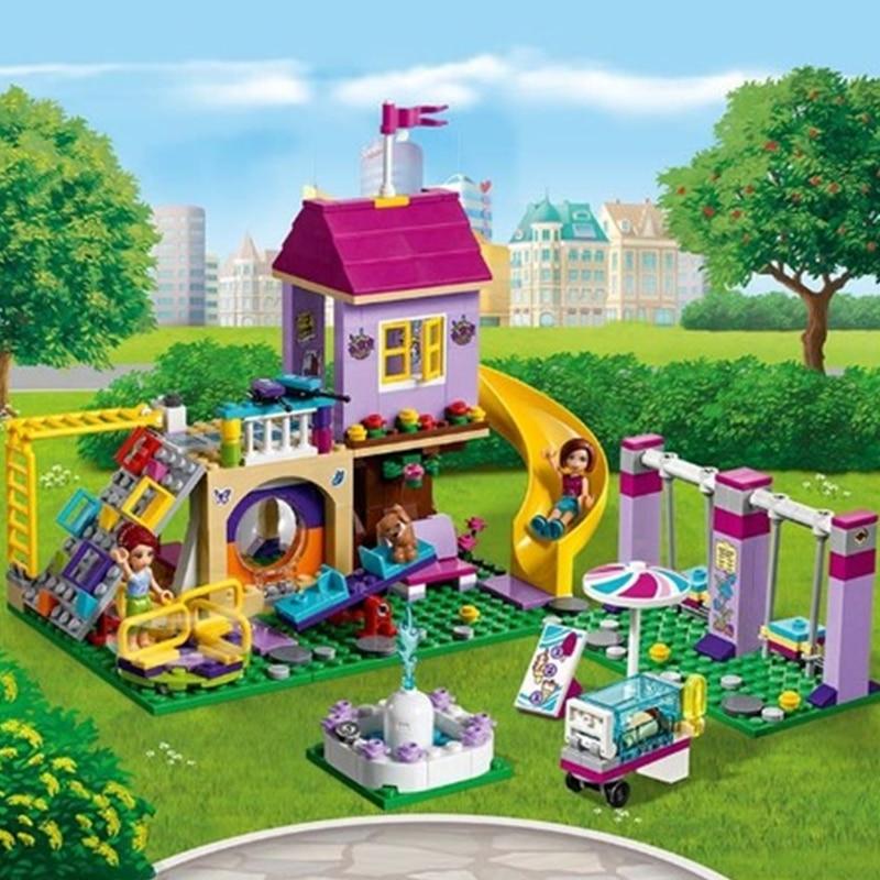 341 для девочек из двух предметов Lepining Friends спортивная площадка города строительные блоки, кирпичные блоки образовательные игрушки для Штаны...