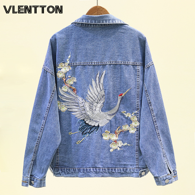 2020 Spring Autumn Print Embroidery Denim Jacket Coat Women Black Button Casual Loose Jeans Outwear Female Tops Casaco Feminino 1
