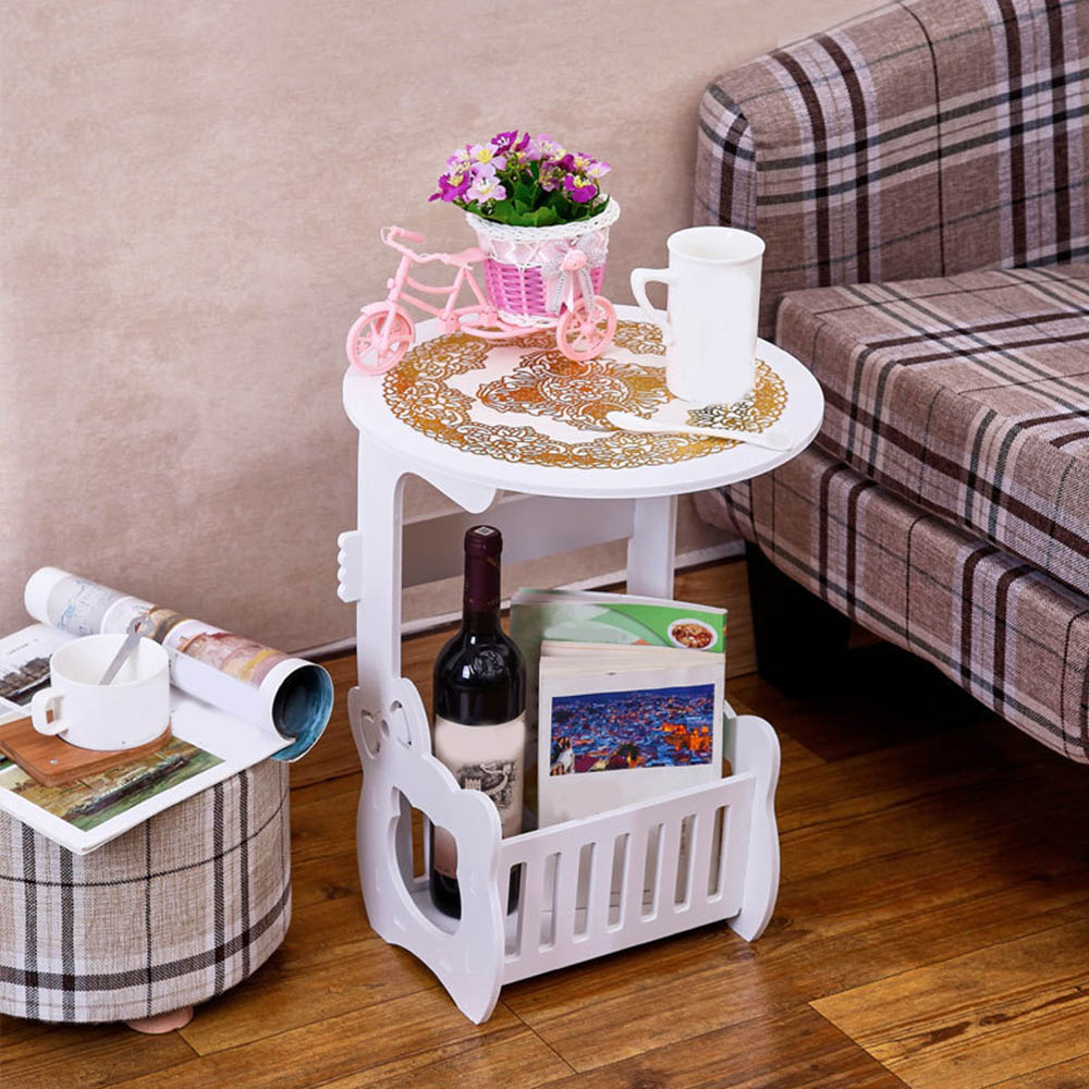 Creative Nordic Desktop Round Mini Coffee Table Modern Home Bedroom Small Table Iron Art Bedside Table With Storage Case