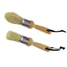 2pcs Pro Riscado Pintura Cera Escova de Cerdas Naturais de Javali Puro Escovas de Cerdas da Escova para Pintura De Móveis Depilação Darpaint Detalhe
