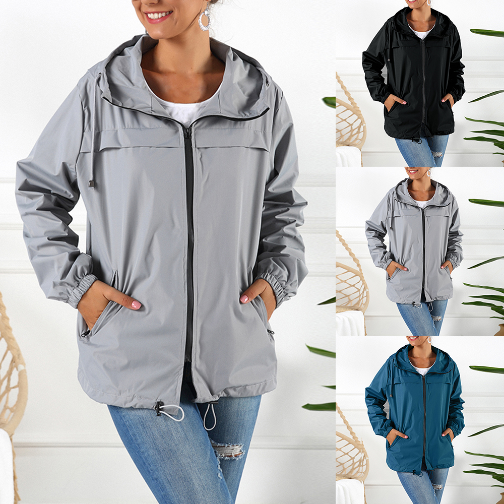 LOOZYKIT Womens Lightweight Raincoat Casual Solid Color Waterproof Jacket 2020 New Hooded Outdoor Hiking Jacket Rainwear Mujer