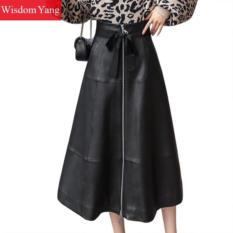 Autumn Winter Sheepskin Genuine Leather Midi Skirts Womens Black Long Aline Slim Skirts Female Elegant Sexy Ladies Korean Skirts