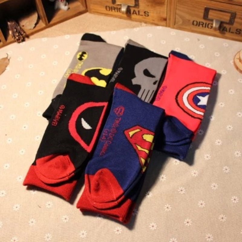 Movie Deadpool Sock Marvel Avengers Batman Superman Captain America Skull Men Cotton Socks Casual Comfortable Chaussettes Homme