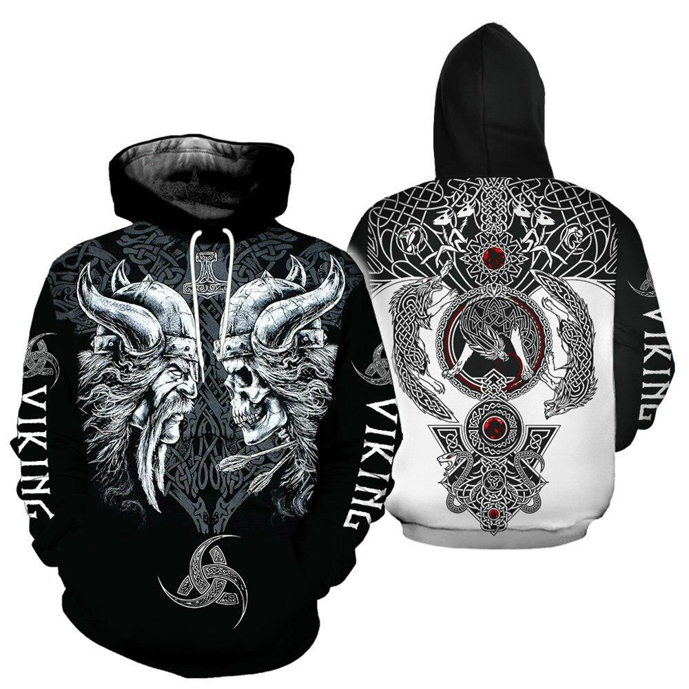 2021 Men's New Viking 3D Printed Hoodie Fall/Winter Fashion Fashion Boys Hooded Sweatshirt Harajuku Style