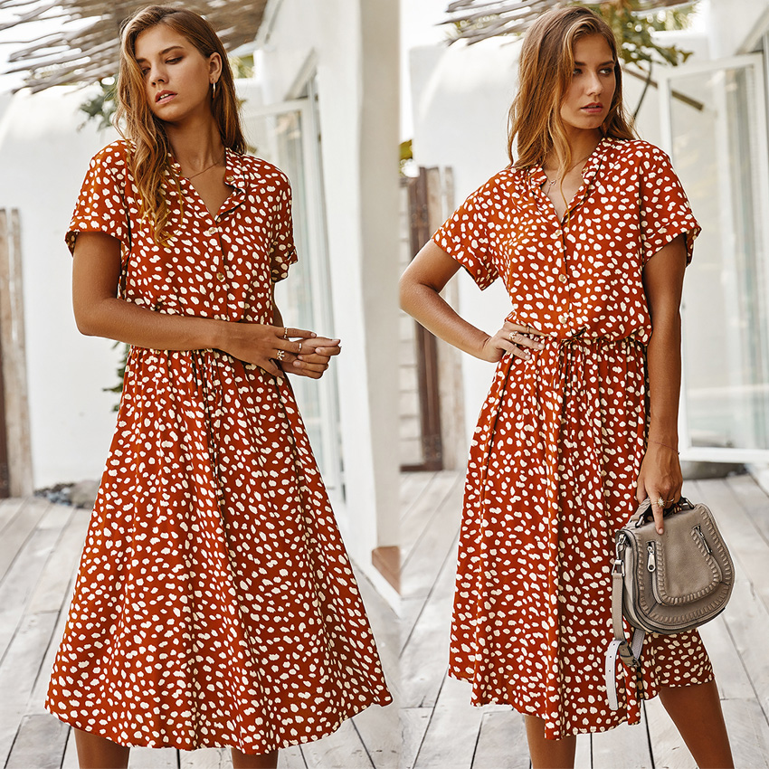 Dots Print White Short Sleeve Midi Boho Beach Dress 11