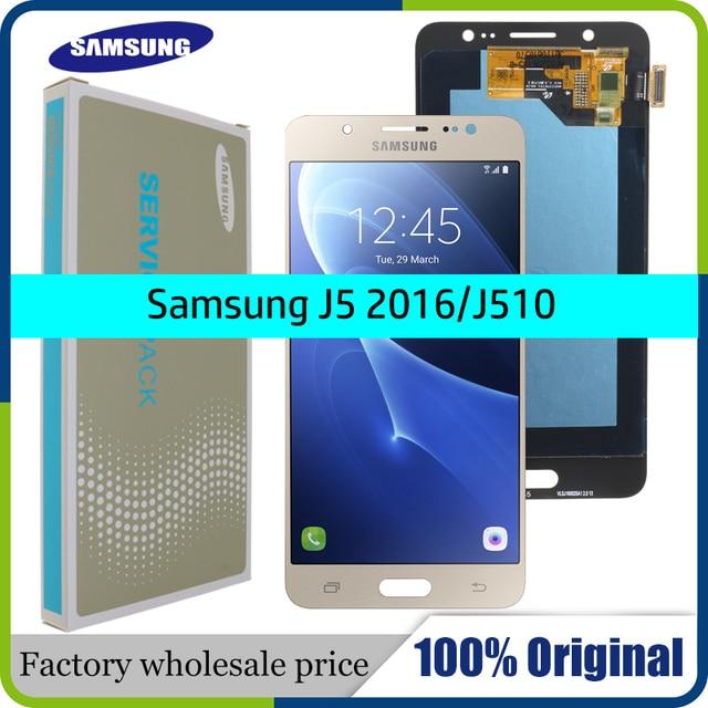 ORIGINELE 5.2 SUPER AMOLED LCD voor SAMSUNG Galaxy J5 2016 Display J510 J510F J510FN J510M Touch Screen Digitizer Vergadering