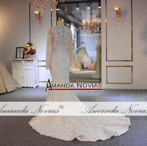 Image 3 - יוקרה מלא ואגלי בת ים שמלות כלה עם נתיק רכבת כבד ואגלי חתונת כלה שמלות