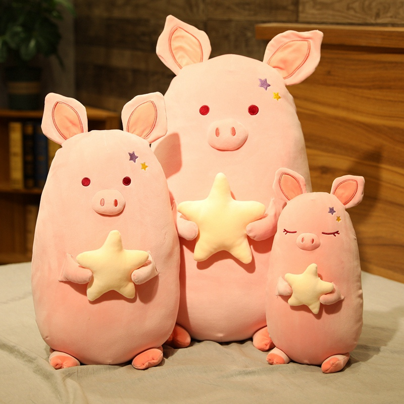 Huggable New Soft Fat Pink Pig With Star Plush Toys Stuffed Cute Animals Piggy Doll Kids Appease Pillow Nap Cushion Girls Gift