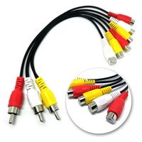 3RCA Male Jack to 6RCA Female Plug NC XQIN Plug Splitter Audio TV DVD Video Adapter AV Cable