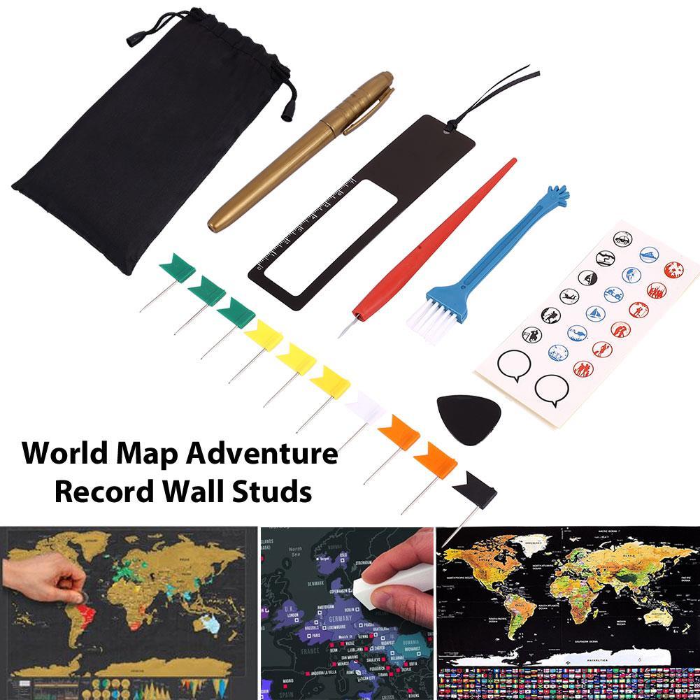 Diy Scratch Pen Set Travelers School Supplies World Maps Office Gift 8pcs/Bag Premium Novelty Markers Stickers Travel Home