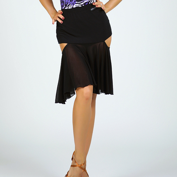 2019 New Latin Dance Skirt Female Adult Sexy Mesh Splicing Skirts Women Ballroom Cha Cha Rumba Samba Practice Clothes DL5057