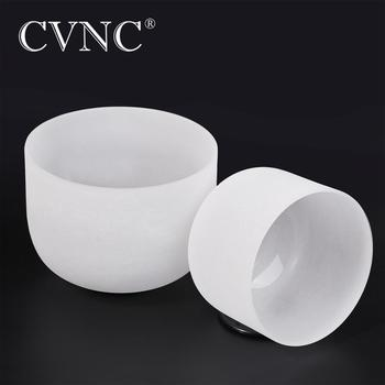"CVNC  2pcs 8""C and  10""F  Quartz Frosted Crystal Singing Bowl"