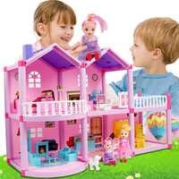 I Bambini di Famiglia Fai da Te Casa di Bambola Accessori Giocattolo con Miniatura Della Mobilia Del Garage Assemblare Casa Casa di Bambola Giocattoli per Le Ragazze Regalo di Compleanno
