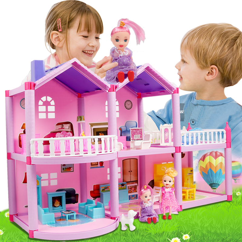 Kids DIY Family Doll House Accessories Toy With Miniature Furniture Garage Assemble Casa Doll House Toys For Girls Birthday Gift