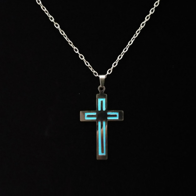 Luminous Men Women Pendant <font><b>Necklace</b></font> Cross Personality <font><b>Glow</b></font> <font><b>In</b></font> <font><b>The</b></font> <font><b>Dark</b></font> Jewelry Vintage Stainless Steel Jewelry Accesories image