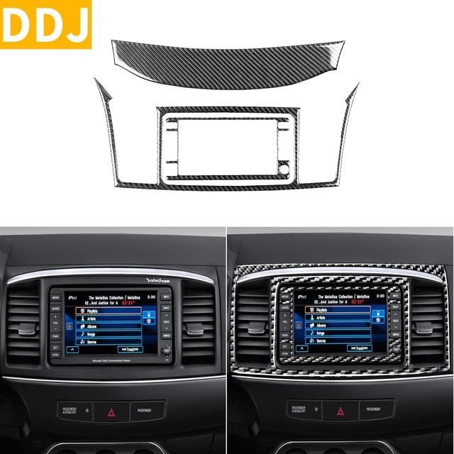 For Mitsubishi Lancer GTS ES DE 2008 2015 Carbon Fiber Navigation Panel Sticker Center Air Vent Frame Trim Strip Car Accessories