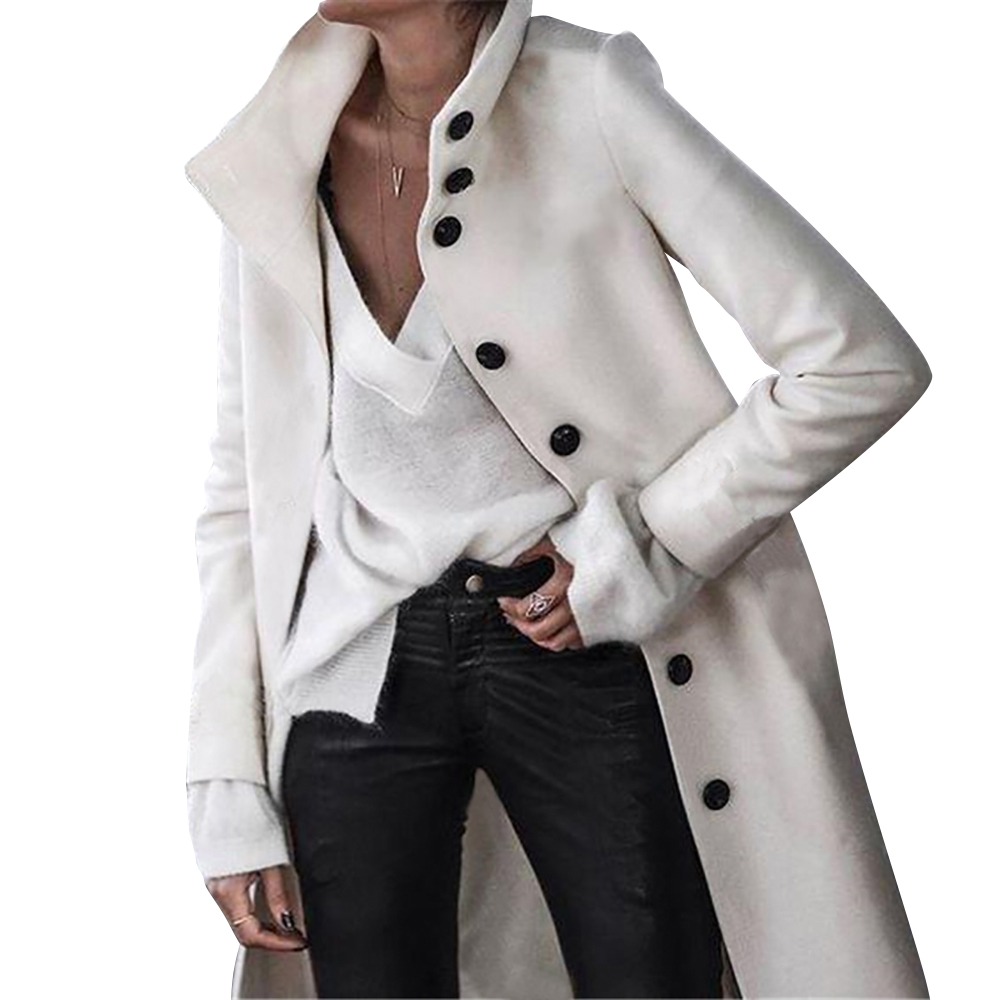 Woolen Coat Women Single Breasted Button Up Overcoat Straight Casual White Black Long Sleeve Coats Ladies Winter Warm Outfit D25