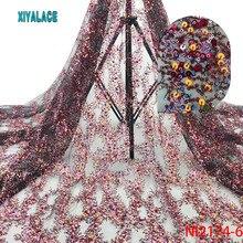 Нигерийская кружевная ткань Африканская кружевная ткань Блестки свадебное платье Тюль Кружева Вечерние платья новое французское клетчатое кружево голубой 5 ярдов NI2174-6