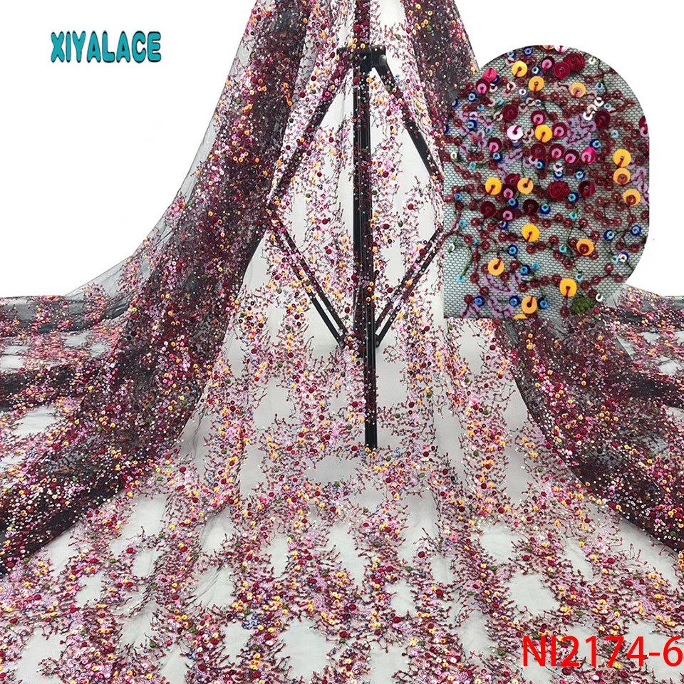 Nigeria Lace Fabric African Lace Fabric Sequins Wedding Dress Tulle Lace Party Dress New French Mesh Lace Cyan 5yards NI2174-6