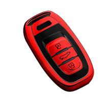 Car Key Case TPU All Inclusive Three Button Key Protector Cover For-A u d i A4 A4L A5 A6 A6L Q5 S5 S7 Car Styling(China)