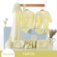 19 Piece Newborn Baby Girl Clothes 100% Cotton Infant Suit Baby Boy Clothes Set Outfits Pants Baby Clothing Hat Bib Blanket