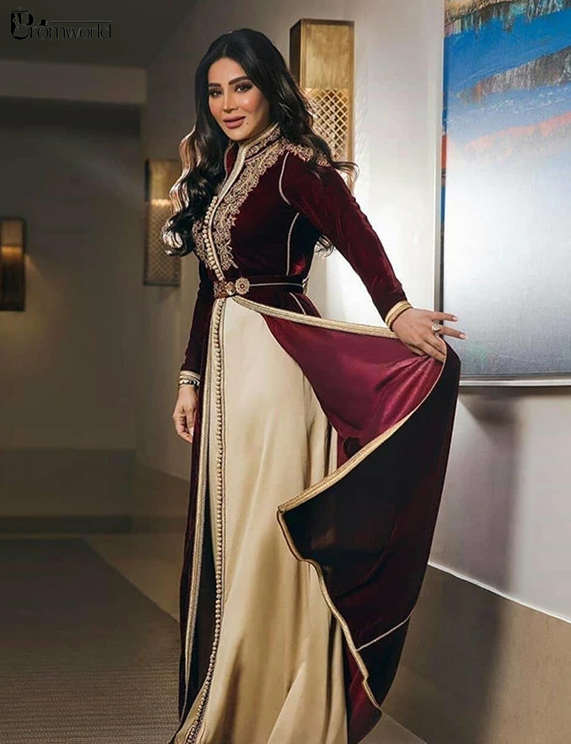 Moroccan Caftans Burgundy Formal Dress A-line Long Sleeve Evening Gowns Floor-Length Velour Vintage Party Dress with Embroidery