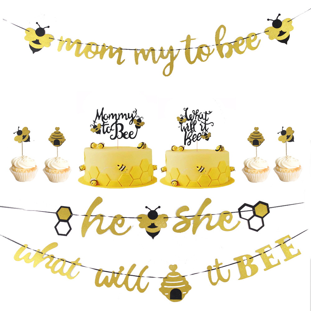 What Will It Bee Gender Reveal Party Supplies Decorations Honey Bumble He Or She Baby Shower Banner Bee Cake Toppers