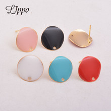 Earrings Connector Charms Gold High-Quality 20pcs Round Black Blue Red Enamel