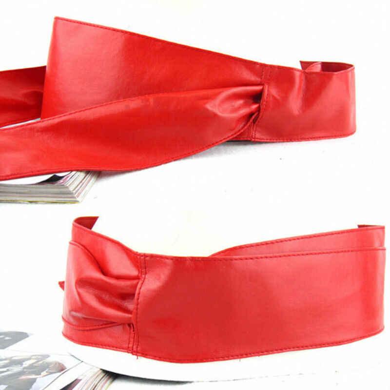 Caldo Delle Donne di Pelle Morbida Auto Tie Bowknot Della Fascia Intorno Cintura Cintura di Grande Formato In Pelle Auto Tie Bowknot Della Fascia Intorno Alla Cintura cintura
