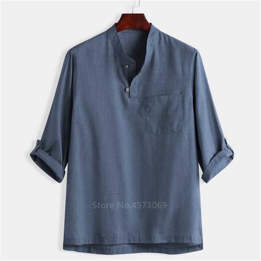 חדש שנה סיני סגנון מסורתי פשתן קונג פו בגדים לגברים חולצות מוצק בציר וו טאנג שבט טאי צ 'י טאנג חולצה