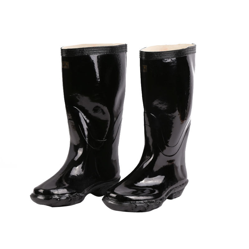 Tianjin Snow Thick Anti-slip Oil-Resistant Wear-Resistant Black And White With Pattern Rubber Boots Rubber Sole Gong Kuang Xue B