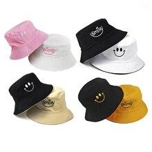 Bucket-Hat SMILE Summer-Cap Hip-Hop Double-Sided Fashion Gorro Unisex Face Bob-Cap Men