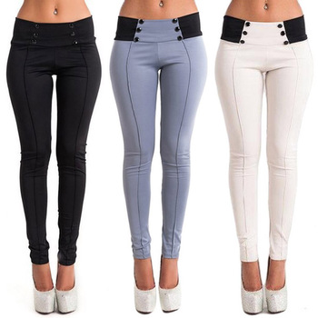 Lady Slim Elastic Trousers Casual Stretch Skinny Pencil Pants Button Decoration CLSYH0020