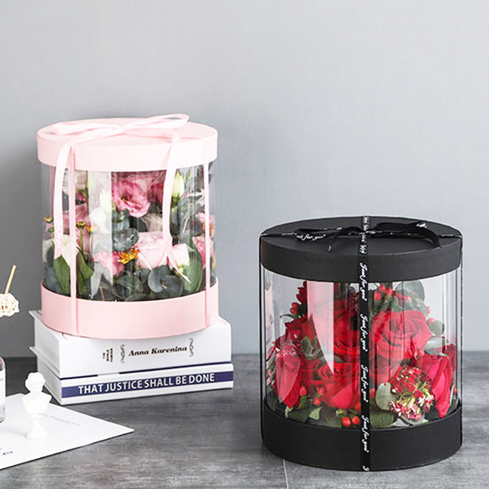 Korean Crystal Round Clear PVC Flower Boxes Wedding Birthday Gift Packaging Home Office Craft Dustproof Exhibition Storage Box