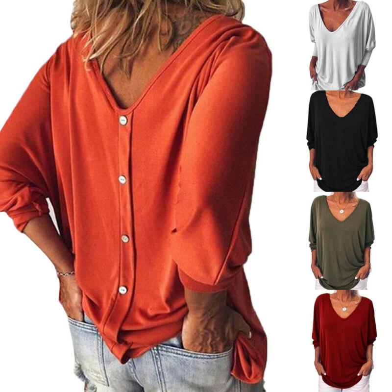 Плюс Размеры женские свободные 3/4 с длинным рукавом и пуговицами на спине футболки с v-образным вырезом, Одноцветный Топ, Свободная блузка; с...