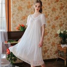 2019 New Sexy Sleepwear Female Summer Mesh Lace Princess Perspective Double V V-Neck Skirt Temptation GZ34