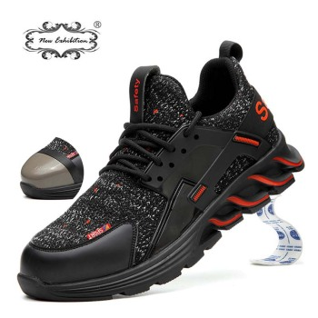 New exhibition fashion Work Shoes 2019 Men's Outdoor light Breathable Safety Sneakers Boots Steel Toe Anti Smashing Safety Shoes new exhibition fashion safety shoes men s breathable mesh anti smashing piercing lightweight steel toe cap wear site work shoes